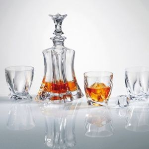 Floral Crystal Decanter Set4 Floral