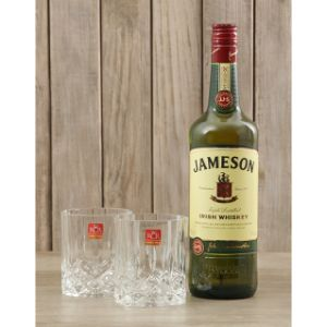 Jameson Whiskey and Crystal Glasses